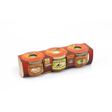 Terrine de porc aux cèpes 200 gr+ Terrine de canard au Foie gras 200 gr + Terrine Ardéchoise pur porc 200 gr